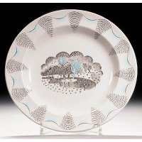 A dinner plate from his 'Travel' service designed for Wedgwood