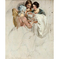 A Girl and Two Women, Standing and Holding a Baby (Study for 'The Covenanters' Baptism')