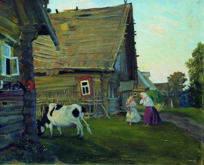русские избы в картинах художников тоже выглядит
