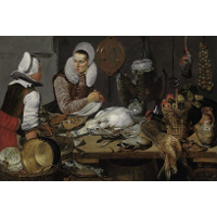 A Kitchen Interior with a Maid and a Lady Preparing Game