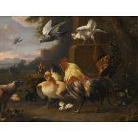 An Eagle, a Cockerell, Hens, a Pigeon in Flight and Other Birds