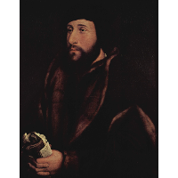 Portrait of a man with a letter and gloves