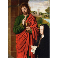 Anne of France, Lady of Beaujeu, Duchess of Bourbon, presented by St. John the Evangelist, right hand wing of a triptych