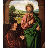 Peter II Duke of Bourbon presented by St. Peter, left hand wing of a triptych