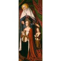 St. Anne presenting Anne of France and her daughter, Suzanne of Bourbon - right wing of The Bourbon Altarpiece
