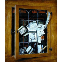 A trompe l'oeil of an open glazed cupboard door, with numerous papers and objects