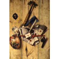 Trompe l'oeil with violin, painter's implements and self-portrait