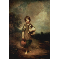 A peasant girl with dog and jug