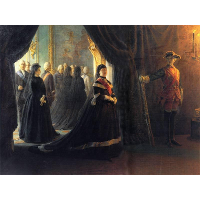 Catherine II (1729-96) at the Coffin of Empress Elizabeth (1709-61)