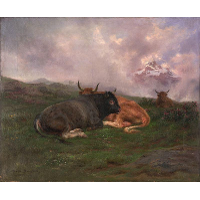 Cattle at Rest on a Hillside in the Alps 1885