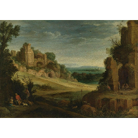 Landscape with a Hunting Party and Roman Ruins