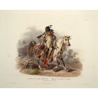 A Blackfoot Indian on Horseback, plate 19 from Volume 1 of 'Travels in the Interior of North America'
