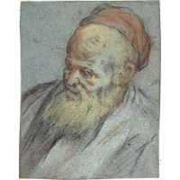Bust-Length Study of a Bearded Man with Cap in Three-Quarter View