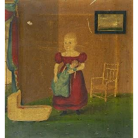 Girl Holding Doll in an Interior