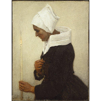 Breton Peasant Woman Holding a Taper