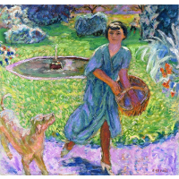 Girl Playing with a Dog (Vivette Terrasse)
