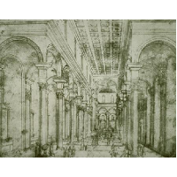 Perspective drawing for Church of Santo Spirito in Florence