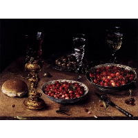 Still Life with Cherries and Strawberries in China Bowls