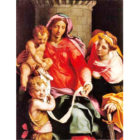 Madonna with Child, young Saint John the Baptist and Saint Barbara