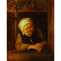An Old Woman by Window