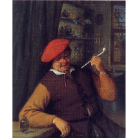 A Peasant in a Red Beret Smoking a Pipe
