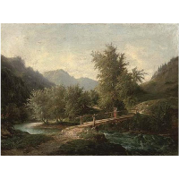 A mountainous wooded river landscape with a figure crossing a bridge