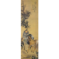 The painting of a man with two horses
