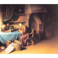 An Old Man Lighting his Pipe in a Study