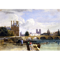 A View of the Pavillon de Flore and the Tuileries from the Seine, Notre Dame, Paris