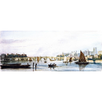 A View of Westminster Bridge, Looking West towards Lambeth Palace and Westminster Abbey