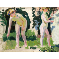 Two Studies of a Nude Outdoors