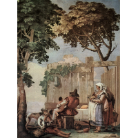 Peasant Family at Table, from the Room of Rustic Scenes, in the Foresteria (Guesthouse)