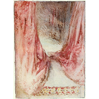 A bed, drapery study
