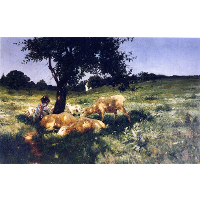 Boy and Sheep Lying under a Tree