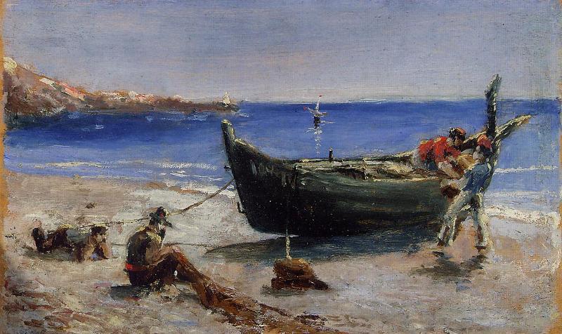 картины с рыбаками в заливе