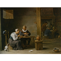 A man and woman smoking a pipe seated in an interior with peasants playing cards on a table