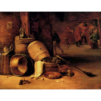 An interior scene with pots, barrels, baskets, onions and cabbages with boors carousing in the background