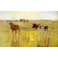 Cattle Seen Against the Sun on the Island of Saltholm. A Color Study