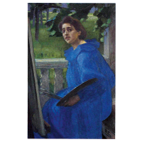 Hanna in a Blue Dress (Portrait of the Artist's Wife)