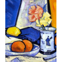 A Still Life of Roses, Oranges and Lemon