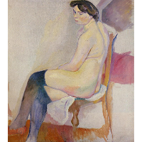 Seated Nude with Black Stockings