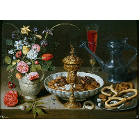 Still Life with Nuts, Candy and Flowers