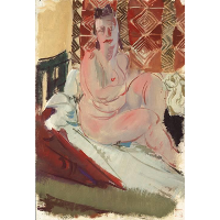 A Model Seated on a Bed