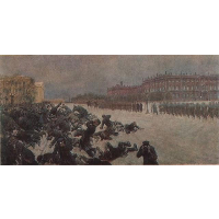 Bloody Sunday. Shooting workers near the Winter Palace January 9, 1905.