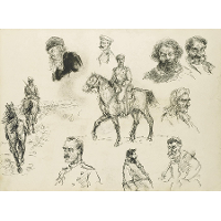A Russian Cavalry Officer (recto) and Other Sketches of Various Characters (verso)