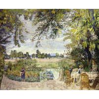 Figures Eating in a Garden by the Water