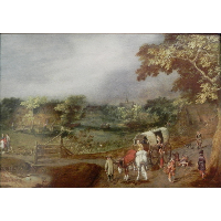 A Summer Village Landscape with Horse