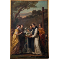 Saint Theobald offering an eleven branched lilium to Saint Louis and Marguerite of Provence