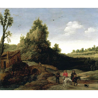 A landscape with travellers crossing a bridge before a small dwelling