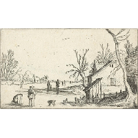 Farm near frozen river with skaters on the ice